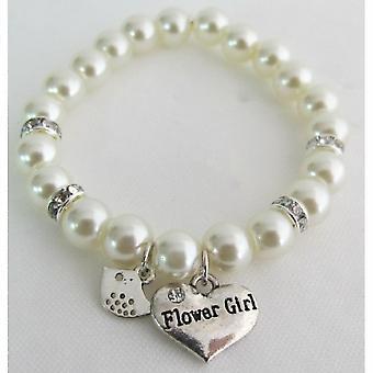 Junior dama de honor niña de las flores de regalo pulsera de perlas marfil