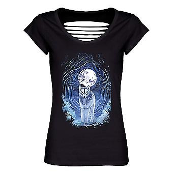 Requiem Collective Ladies/Womens Benithe Wolf Razor Back T-Shirt
