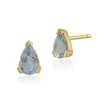 Gemondo 9ct Yellow Gold 0.59ct Aquamarine Single Stone Pear Stud Earrings
