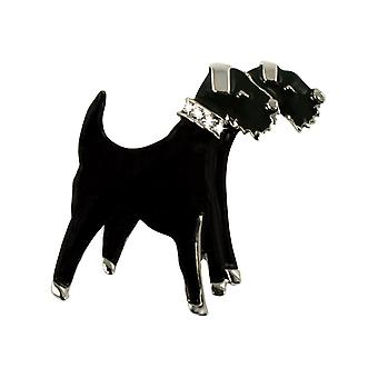 Eternal Collection Forever Friends Fox Terrier Black Enamel Brooch
