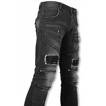 Biker Jeans - Slim Fit Zipped Biker Jeans With Paint Drops - Antra