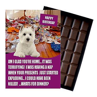 West Highland Terrier śmieszne prezenty urodzinowe dla psa kochanka czekolada powitanie karty prezent