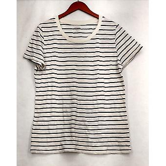 Mossimo Supply Co. XXL Striped Short Sleeve Tee White / Black Top Womens #2