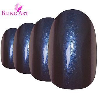 Tips per ricostruzione unghie finte di ovale di bling arte camaleonte viola blu medio 24 falso