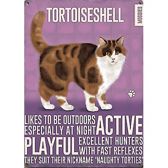 Medium Wall Plaque 200mm x 150mm - Tortoiseshell Cat by The Original Metal Sign Co