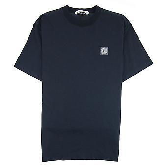 Stone Island patch logo tripulação pescoço camiseta Marinha V0020