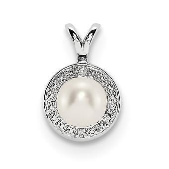 925 sterling zilver gepolijst rhodium-plated Diamond en zoet water gekweekte parel hanger