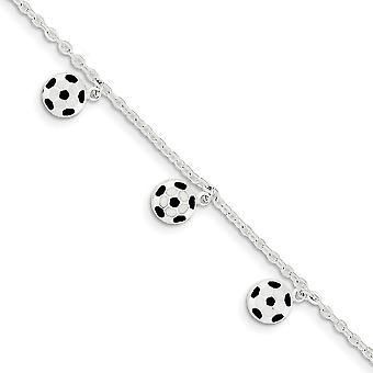 925 Sterling Gümüş Katı Cilalı Açık arka Dokulu arka Fancy Istakoz Kapatma Emaye Futbol Topu Ayakkabı Bilezik 6 In