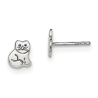 925 Sterling Silver Rh Plated for boys or girls Polished Kitty Cat Post Earrings - 1.0 Grams