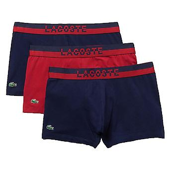 Lacoste Colours Cotton Stretch 3-Pack Boxer Trunk, Marine / Rouge / Marine, X-Large