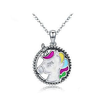 Unicorn kvinna hängsmycke halsband i flerfärgad emalj och silver 925