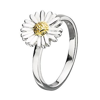 Dew Sterling Silver Daisy With Gold Plate Flower Ring 2081GD018