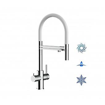 5-way Inox Filter Tap White Spout And 2 Jets Spray, Ideal For Sparkling, Plain And Cooled Water Systems - Polished - 433