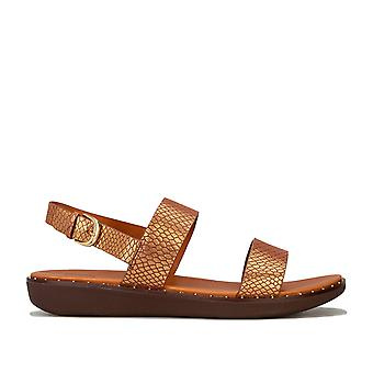 Womens Fitflop Barra Leather Back Strap Sandals In Chocolate Brown
