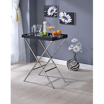 Elegant  Tray Table, Black & Brushed Nickel Gray