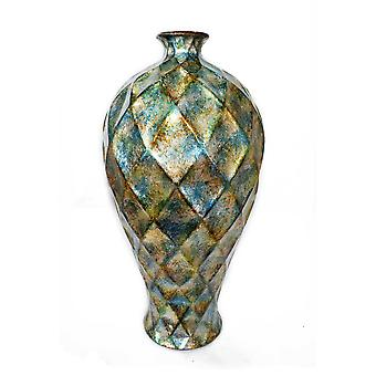 """11"""" X 11"""" X 19.5"""" Green Gold Orange Ceramic Foiled and Lacquered Faceted Plum Vase"""