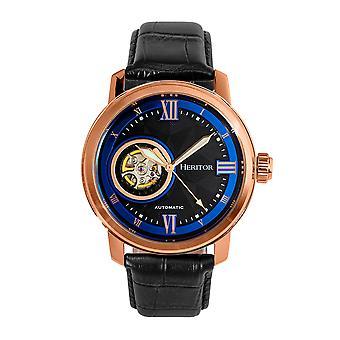Heritor Automatic Maxim Semi-Skeleton Leather-Band Watch - Rose Gold/Black