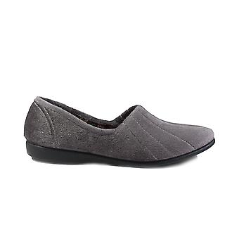 GBS Audrey Grey Velour Womens Slip On Full Shoe Slippers