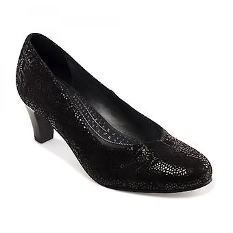 Padders Judy Ladies Leather Wide (e Fit) Court Shoes Black Floral
