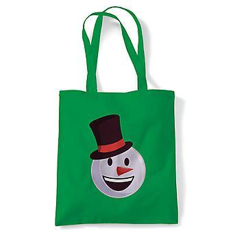 Smiley Christmas Emoji snømann tote | Secret Santa strømpe filler gave til stede ideal | Gjenbrukbare shopping Cotton Canvas Long håndtert Natural shopper miljøvennlig mote