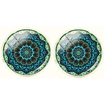 Bassin and Brown Bohemian Swirl Cufflinks - Mint/Green/Navy