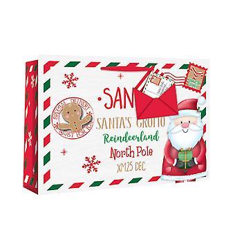 Eurowrap Christmas Gift Bags with Santa Envelope Design (Pack of 12)