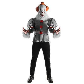 Mens Deluxe Pennywise Clown It Film Halloween Horror Fancy Dress Costume
