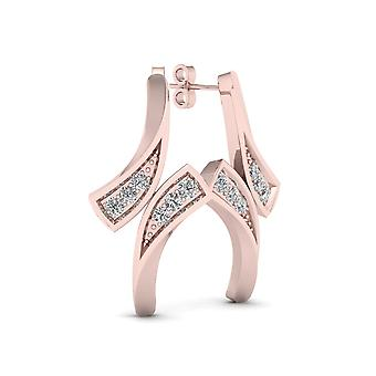 Igi certified 10k rose gold 0.04ct tdw diamond bypass style earrings