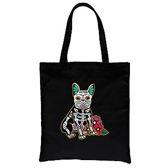 Frenchie Day Of Dead Funny Halloween Costume Cute Black Canvas Shoulder Bag