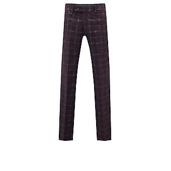 Dobell Mens Wine Tweed Trousers Regular Fit Windowpane Check