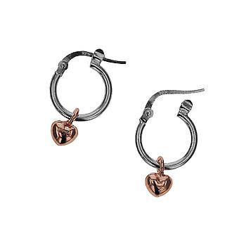 Die Olivia Collection 12mm Sterling Silber Scharnier Hoop mit Goldtone Plated Hanging Heart Charm