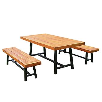 Outsunny Garden 3 Pieces Acacia Wood Picnic Table and 2 Benches Set Dining Trestle Beer Table Patio Outdoor Indoor Furniture