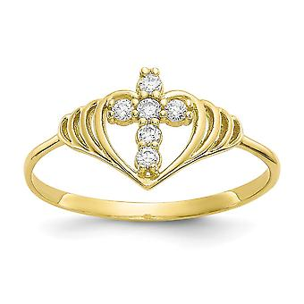10k Cubic Zirconia Cross Ring Size 6 Jewelry Gifts for Women