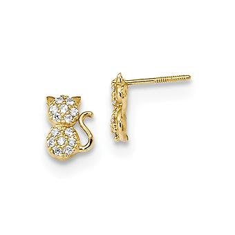 5.8mm 14k Madi K Polished CZ Cubic Zirconia Simulated Diamond Sitting Cat Screw back Post Earrings Jewelry Gifts for Wom