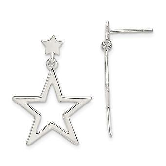 925 Sterling Silver Star pitkä drop dangle korvakorut korut lahjat naisille - 2,0 grammaa