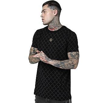 Sik Seide Ss-14922 Reverse Kragen Diamant Design Halbarm T-shirt - schwarz