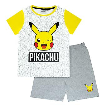 Pokemon Pikachu Face Grey Yellow Boy's Kids Short Pyjamas Nightwear Set