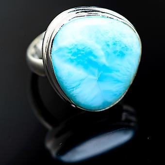 Larimar Ring Size 7.75 (925 Sterling Silver) - Bijoux Boho Vintage ring992703