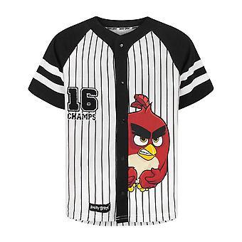 Angry Birds T-paita Champs Boy's Mustavalkoinen Pinstripe Jersey Toppi lapsille