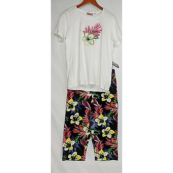 Quacker Factory Set Tropic Fun T-shirt & Printed Capri Pants White A304109