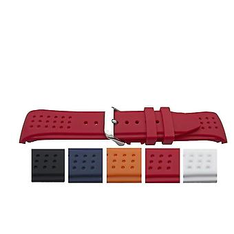 Rubber watch strap with dimple texture curved end 22mm to 24mm