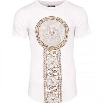 52_DNM Mens Designer Gold Sequin Rhinestone Crystal Diamante Studs Curved Hem T Shirt Lion Print Cotton Elastane