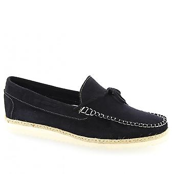 Leonardo Shoes Men's handmade slip-on loafers shoes in blue suede calf leather