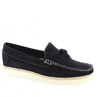 Leonardo Shoes Men's handgemaakte slip-on loafers schoenen in blauw suède kalf leer
