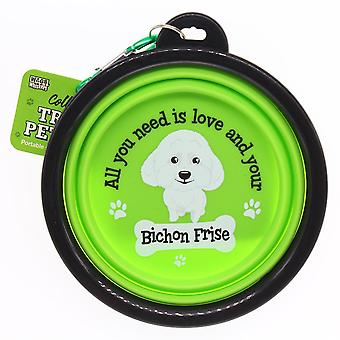 Wags & Whiskers Travel Pet Bowl - Bichon Frise