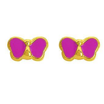 Ohrringe Schmetterling Laqu s Rosen oder 750/1000 gelb (18K)