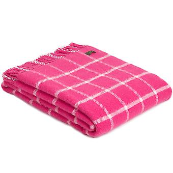 Tweedmill Pure New Wool Chequered Check Pink Throw
