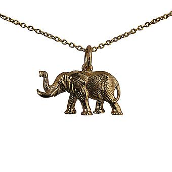 9ct Gold 10x20mm Elephant Pendant with a cable Chain 20 inches