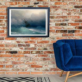 Ivan Hovhannes Aivazovsky - Ship on Stormy Seas Poster Print Giclee