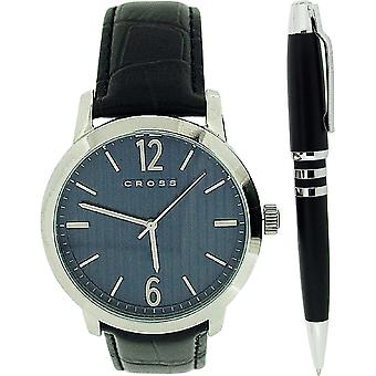 Cross Mason Gents Blue Dial Black Leather Strap Watch & Black Pen Gift Set